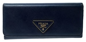 Prada Blue Saffiano Triang Leather Continental Wallet