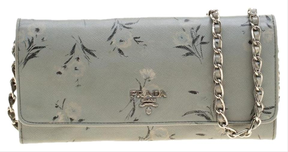 a5368da653f4 Prada Grey Floral Print Saffiano Leather Wallet on Chain Image 0 ...