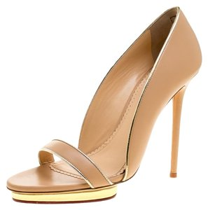 Charlotte Olympia Leather Open Toe Beige Sandals
