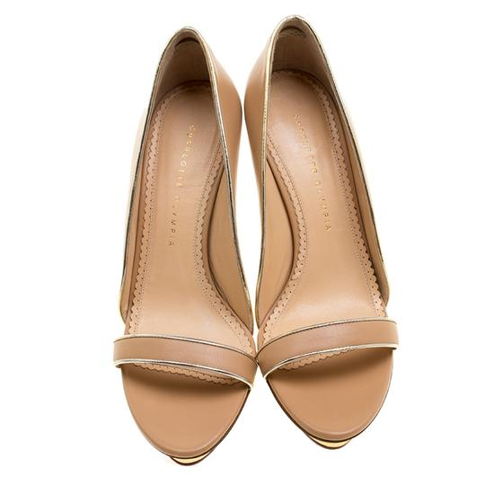 Charlotte Olympia Leather Open Toe Beige Sandals Image 1
