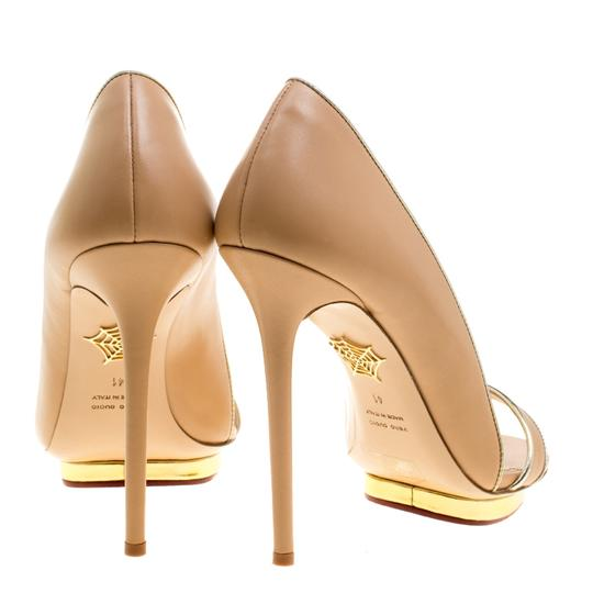 Charlotte Olympia Leather Open Toe Beige Sandals Image 2