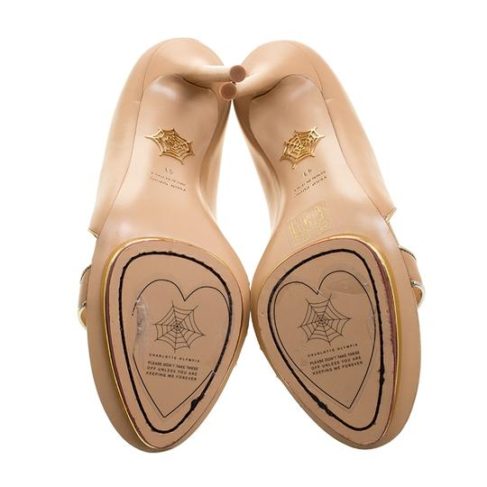 Charlotte Olympia Leather Open Toe Beige Sandals Image 3
