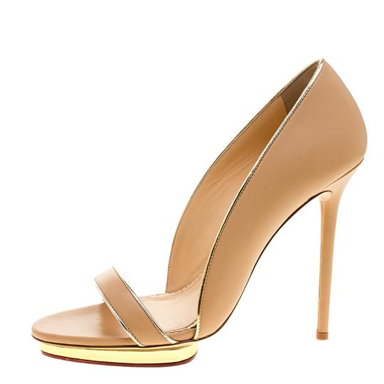 Charlotte Olympia Leather Open Toe Beige Sandals Image 4