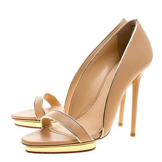 Charlotte Olympia Leather Open Toe Beige Sandals Image 5