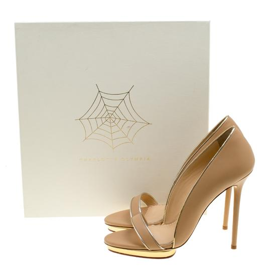 Charlotte Olympia Leather Open Toe Beige Sandals Image 7