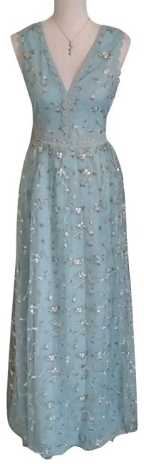 Ina Light Blue Floral Embroidered Overlay Long Casual Maxi Dress Size 12 (L) Ina Light Blue Floral Embroidered Overlay Long Casual Maxi Dress Size 12 (L) Image 1