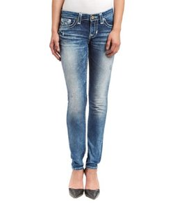 Big Star Low Rise Medium Wash Whiskering Skinny Jeans-Acid