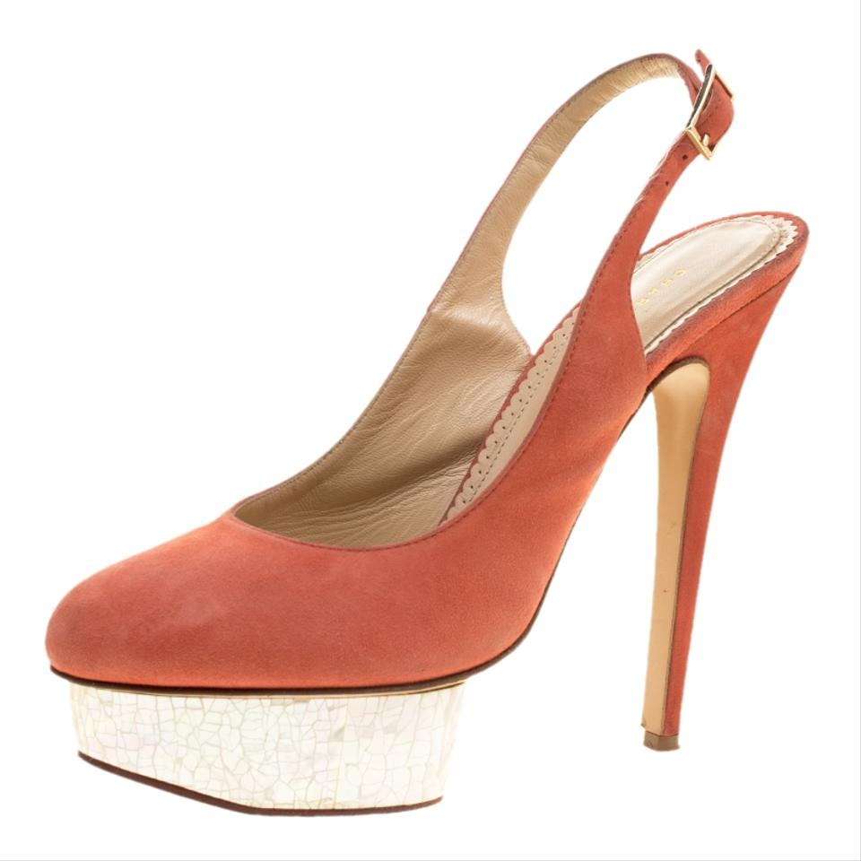 2a517215c2f Charlotte Olympia Red Suede Dolly Slingback Pumps Platforms Size EU ...