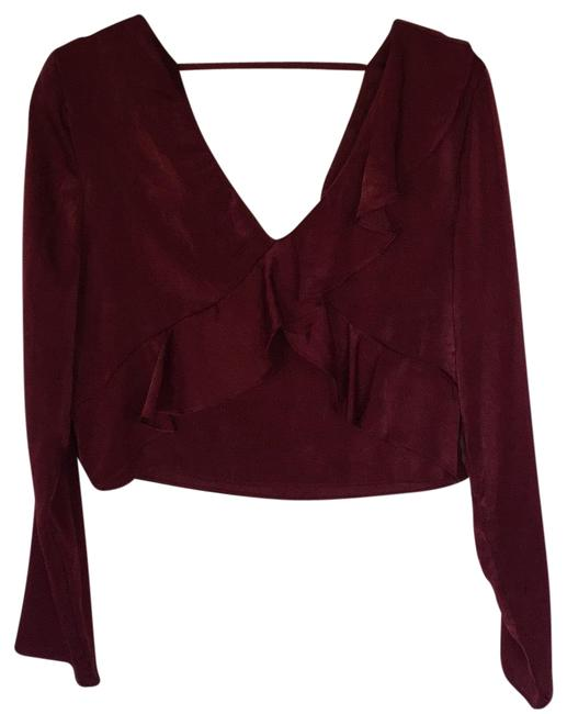 Preload https://img-static.tradesy.com/item/24929611/joa-burgundy-silky-shiny-ruffle-crop-blouse-size-12-l-0-1-650-650.jpg