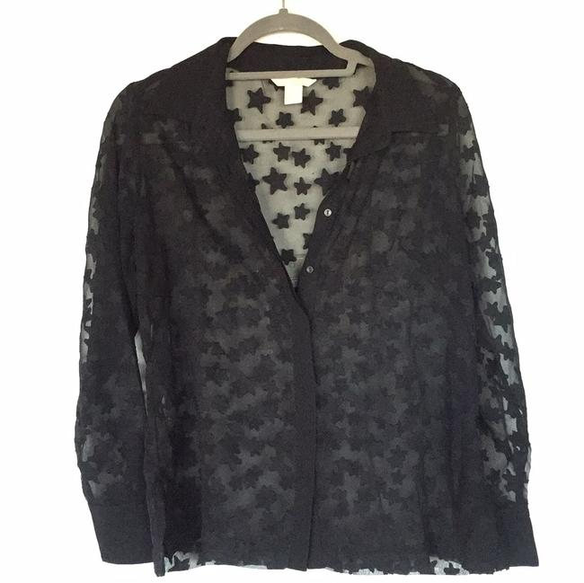 Preload https://img-static.tradesy.com/item/24929625/h-and-m-black-sheer-star-blouse-size-12-l-0-0-650-650.jpg
