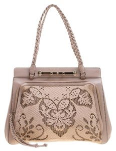 Valentino Satin Leather Lace Tote in Beige