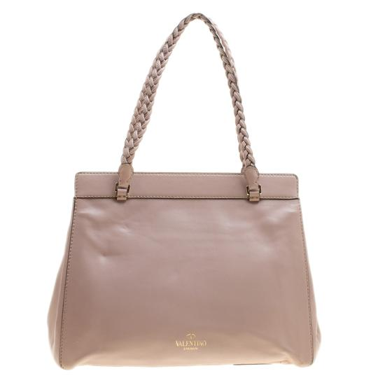 Valentino Satin Leather Lace Tote in Beige Image 1