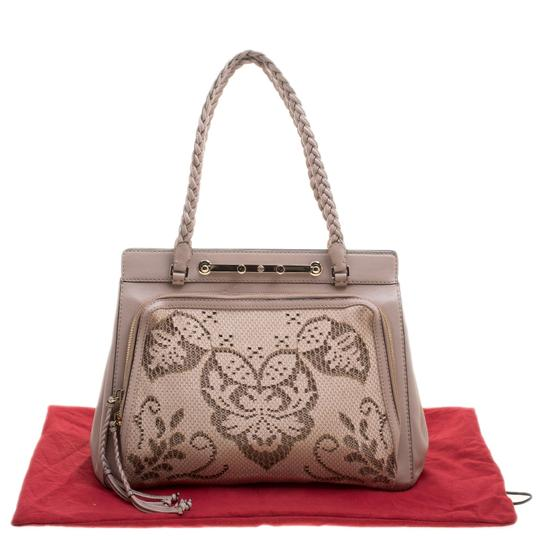 Valentino Satin Leather Lace Tote in Beige Image 10
