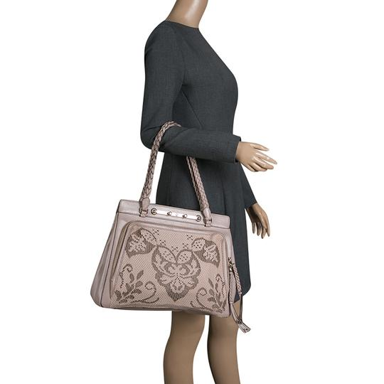 Valentino Satin Leather Lace Tote in Beige Image 2