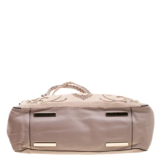 Valentino Satin Leather Lace Tote in Beige Image 3