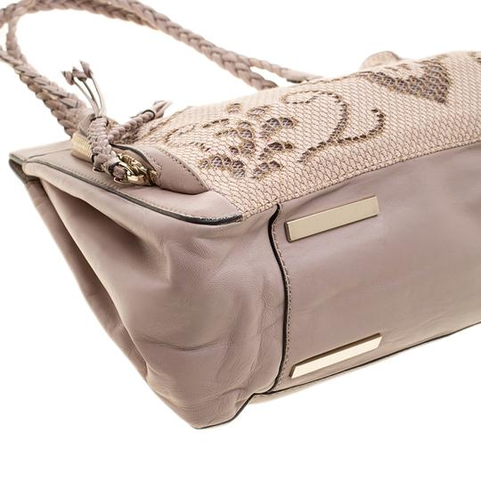 Valentino Satin Leather Lace Tote in Beige Image 4
