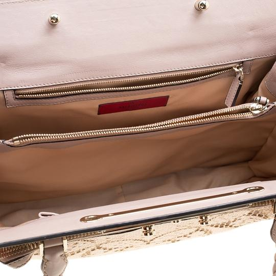 Valentino Satin Leather Lace Tote in Beige Image 5