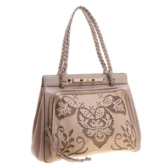 Valentino Satin Leather Lace Tote in Beige Image 6