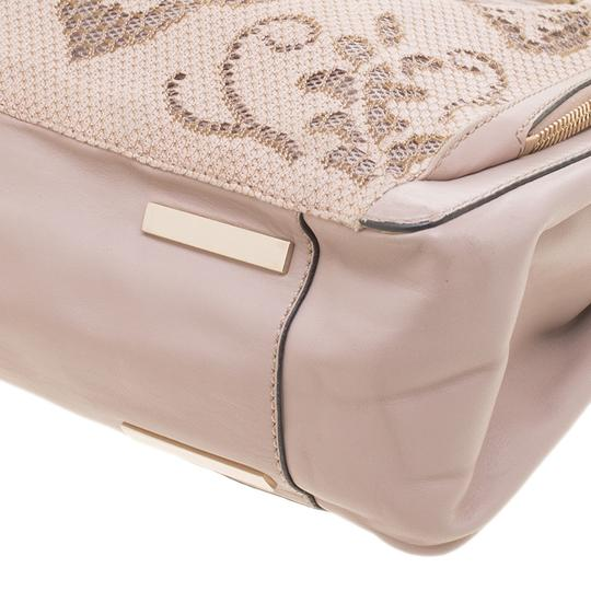 Valentino Satin Leather Lace Tote in Beige Image 7