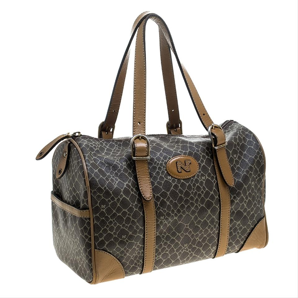 c87a41932d Nina Ricci Leather Canvas Brown Travel Bag Image 11. 123456789101112