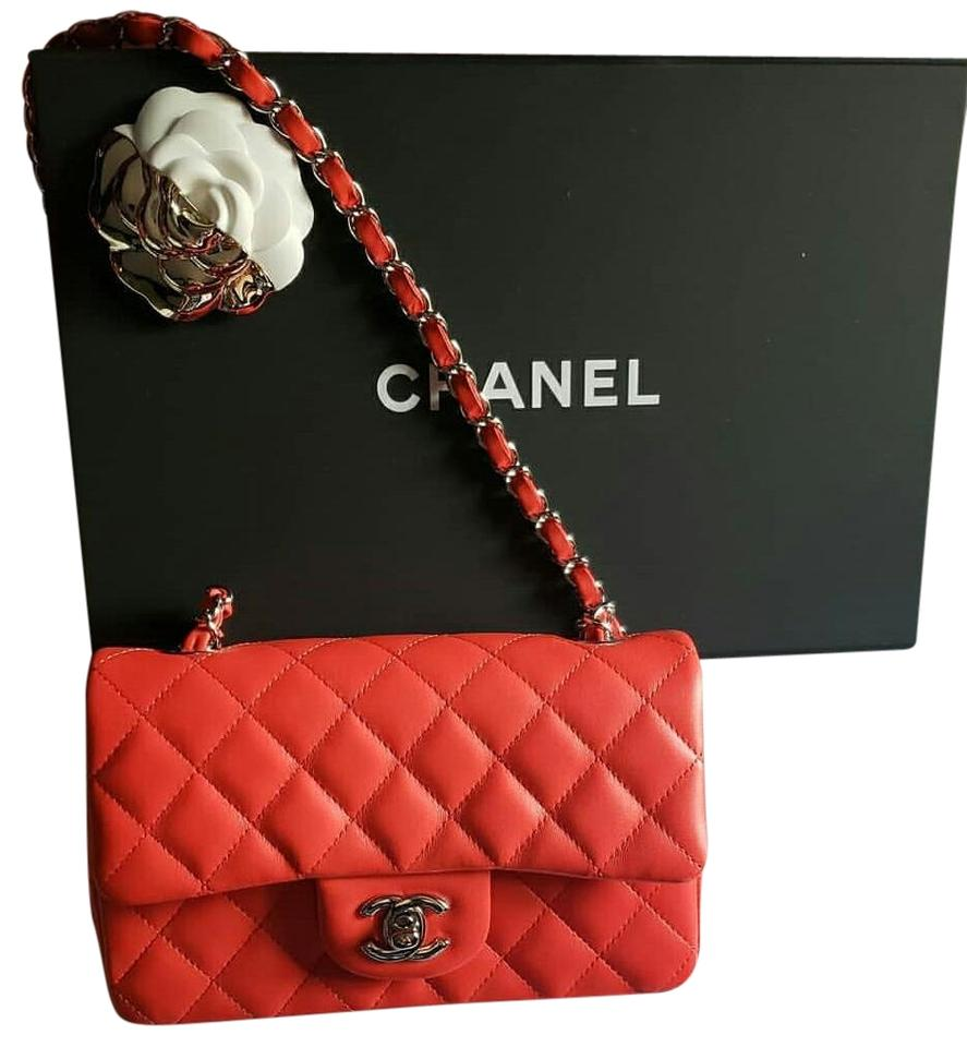 5cb8c3b20a1f Chanel Classic 2019 Mini Rectangular Flap Red Leather Lamb Skin .