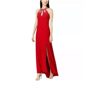 de4886cf315 Night Way Collections Red Halter Embellished Long Formal Dress Size ...