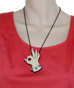 Betsey Johnson Betsey Johnson Betsey Plexi A Okay Hand Large Pendant Chain Necklace