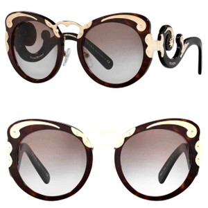 e179b761e8 Prada Dark Havana Black Gold Minimal Baroque Butterfly Sunglasses ...