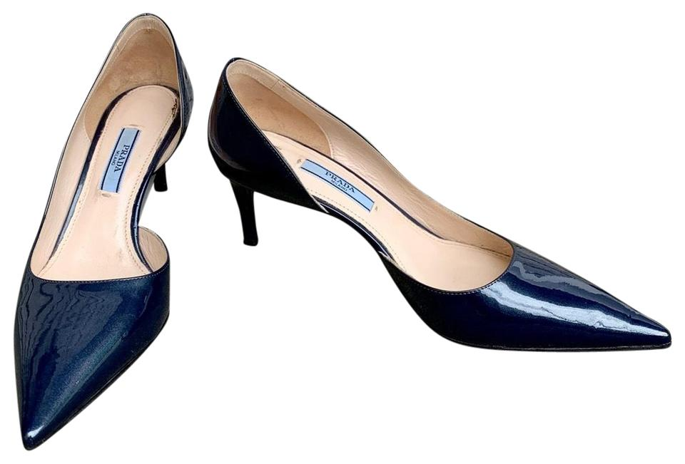 ddeb8bd755 Prada Charcoal Blue Patent Leather Stilettos Pumps Size EU 36 ...