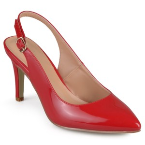 Journee Collection 40's Rockabilly Look 8b Slingback Nib/New And Unworn Perfect Pop Of Color red patent leather Pumps