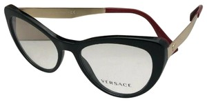 Versace New VERSACE Rx-able Eyeglasses 3244 5239 51-17 140 Black Red-Gold Cat