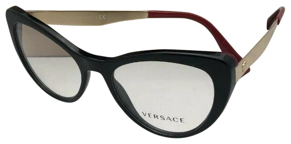 9cc04650b571 Versace New VERSACE Rx-able Eyeglasses 3244 5239 51-17 140 Black Red- ...