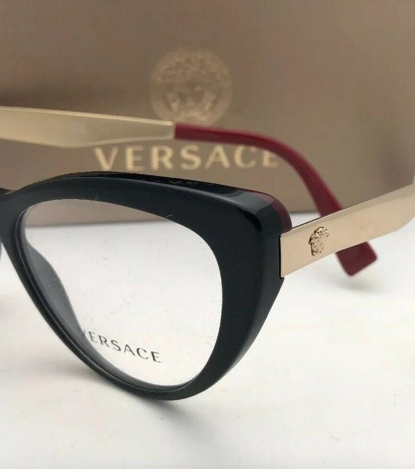 758af003c4d8 Versace New VERSACE Rx-able Eyeglasses 3244 5239 51-17 140 Black Red-.  123456789101112