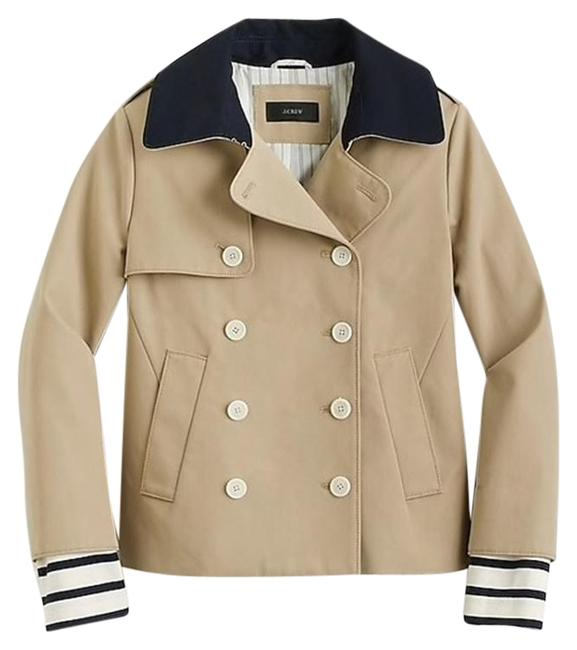 Item - Beige Cropped Trench Coat with Detachable Striped Cuffs G0943 Jacket Size 8 (M)