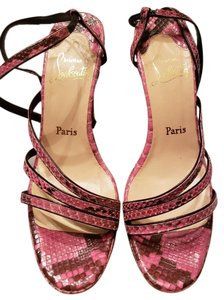 Christian Louboutin Python Slingback Peep Toe Pink and Black Platforms