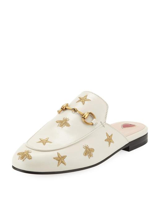 Item - White & Gold Princetown Embroidered Leather Slipper Mules/Slides Size EU 38.5 (Approx. US 8.5) Regular (M, B)