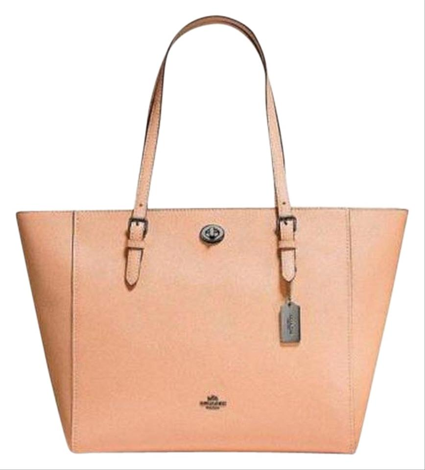 8146d65d544c Coach Turnlock Chain Polished Pebble 57107 Dark Blush Leather Tote ...