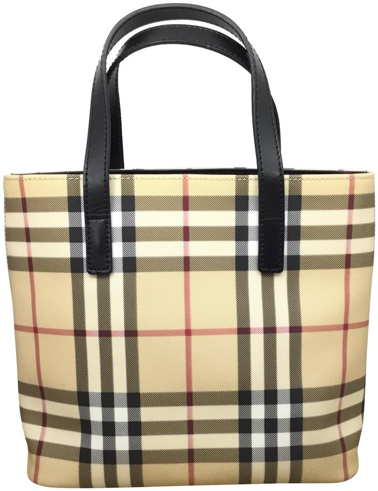 e937e42ba547 Burberry Mini Nova Check Coated Canvas Tote - Tradesy