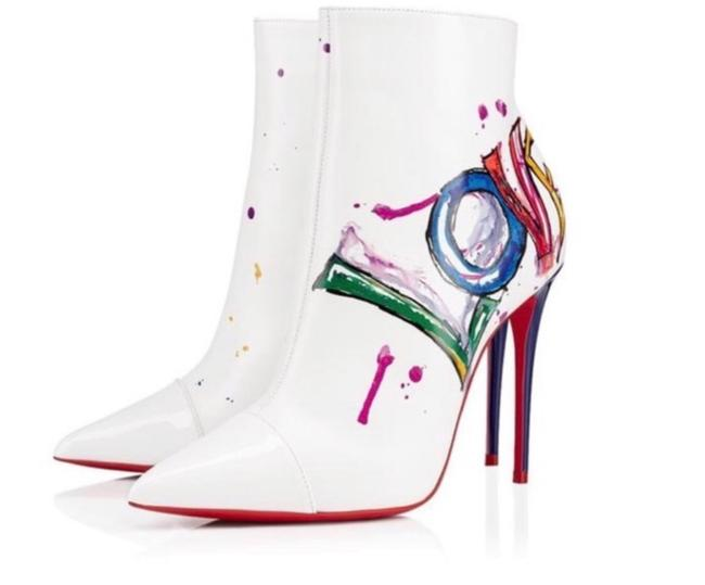 Item - White/Multi Color Love Is Boots/Booties Size EU 36 (Approx. US 6) Narrow (Aa, N)