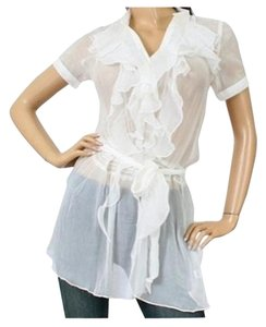 9e954419c75bd Other White Vertical Ruffle Sheer Tunic Cover Up Blouse Size 12 (L)