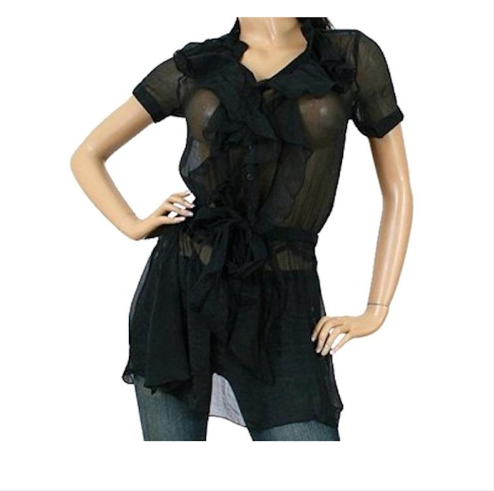 828f2f5171d60 Black Vertical Ruffle Sheer Tunic Cover Up Blouse Size 4 (S) - Tradesy