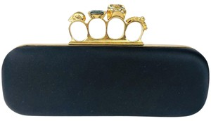 Alexander McQueen Satin Gold Hardware Black Clutch