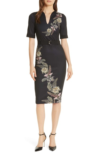 Item - Black with Pattern As Pictured Bakerdollila Pirouette Body-con Midi 4 (Usa 12) Mid-length Formal Dress Size 12 (L)