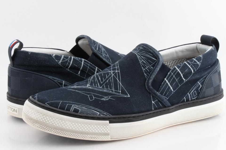 813c92c6682 Louis Vuitton Blue Canvas Mens Victory Boats Slip On Sneakers Shoes 22% off  retail