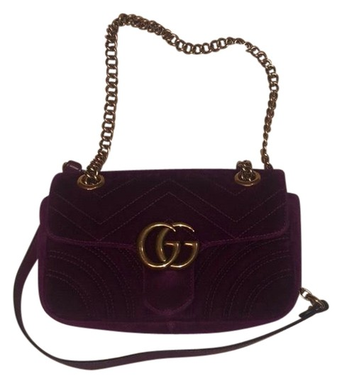 3d030f88160 Gucci Marmont Handbag Purple Velvet Cross Body Bag - Tradesy