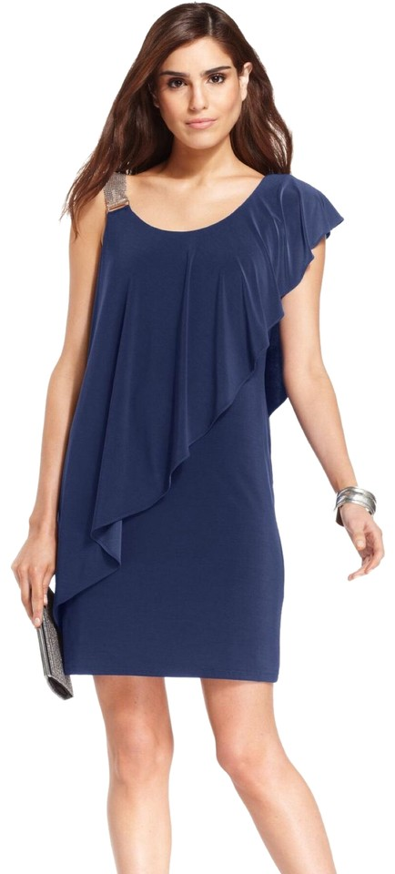 2678954aa4 Betsy   Adam Blue Gold Womens One Shoulder Asymmetric Ruffle Party 2p Cocktail  Dress