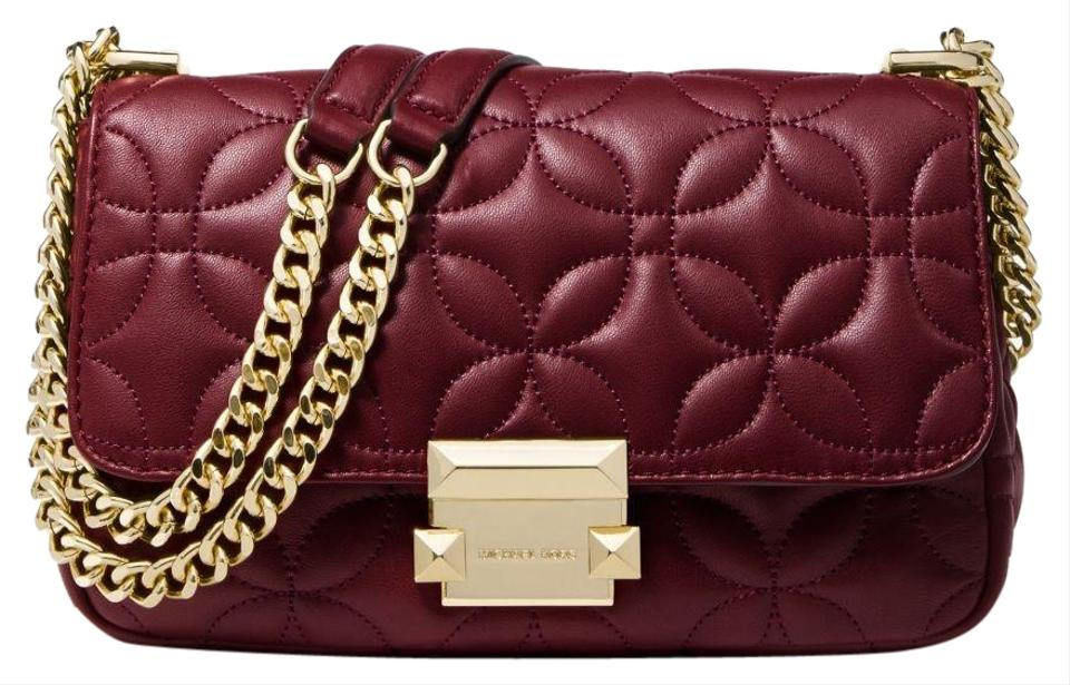Michael Kors Sloan Small Floral Quilted Oxblood Leather Shoulder Bag ... 5549acbf520fb