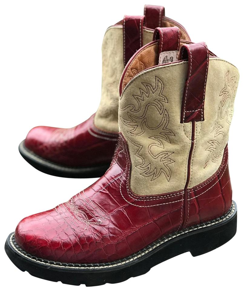 029bd26c85ca Ariat Red   Tan Womens Fatbaby Gembaby Croc Leather Suede Western 7b ...