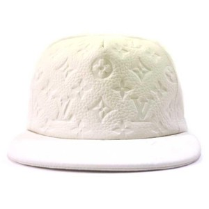 Louis Vuitton ss19 Virgil Abloh White Leather Monogram Blanc Baseball Cap 870232