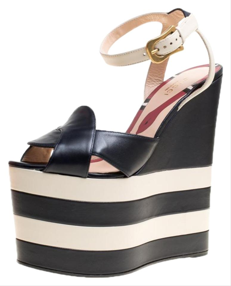 aa35685caa3 Gucci Navy Blue Leather Sally Ankle Strap Platform Wedge Sandals ...